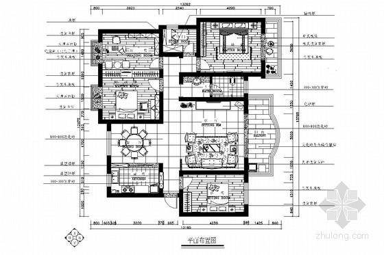 典雅中式三居室室内装修施工图(含效果图)