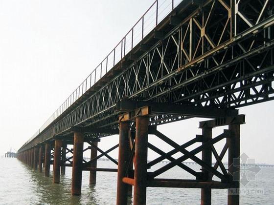 水中墩钢便桥及钢平台大样图