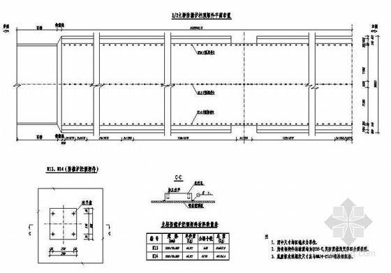 公路跨长江特大组合体系桥梁主桥防撞护栏预埋件平面布置及大样节点详图设计