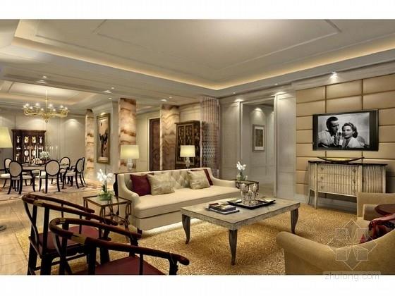 [大连]某奢华别墅样板间室内设计方案图