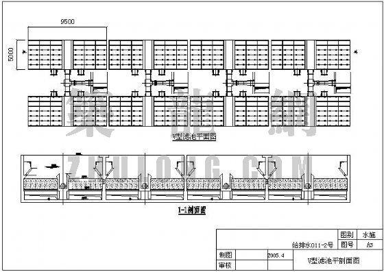 V型滤池平面图剖面图资料下载-某乡镇净水厂设计图