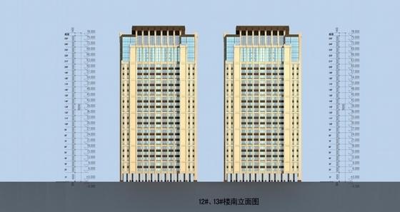 [福建]新中式风格住宅小区规划设计方案文本(含PSDCAD知名设计院)-新中式风格住宅小区立面图