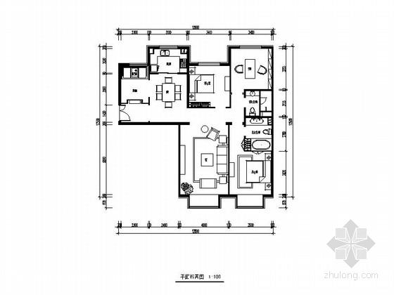 [北京]望京某高档公寓大楼Ac-1户型三居室装修图