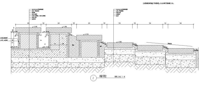 特色跌水水景设计详图——知名景观公司景观-剖面详图二