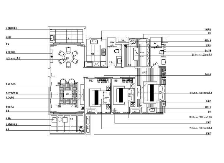 [广东]中式惠州城市广场样板房施工图(包含CAD+实景图)