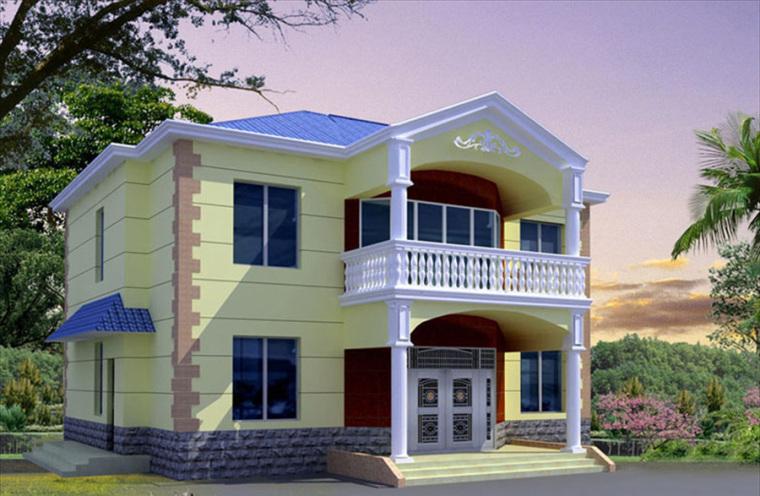 农村二层别墅盖房设计案例效果图-别墅11