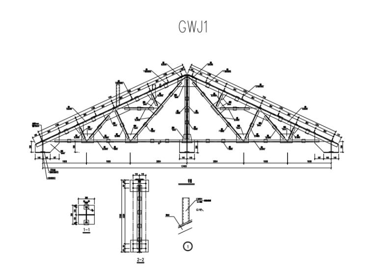 四坡三角形钢屋架仓储设施设计图