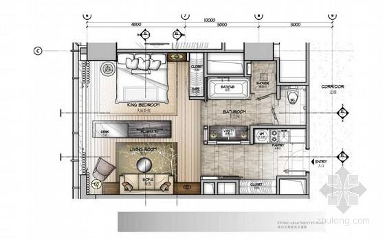 [北京]中关村五星级豪华酒店单间公寓室内装修方案