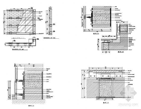 结构砌块墙体饰面干挂石材结构图