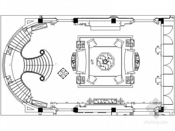 奢华别墅客厅设计施工图(含效果)