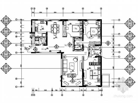 [西宁]时尚住宅小区现代新古典三居室样板房设计装修图(含水电)