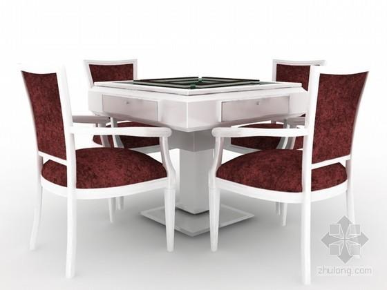 麻将桌椅组合3d模型下载