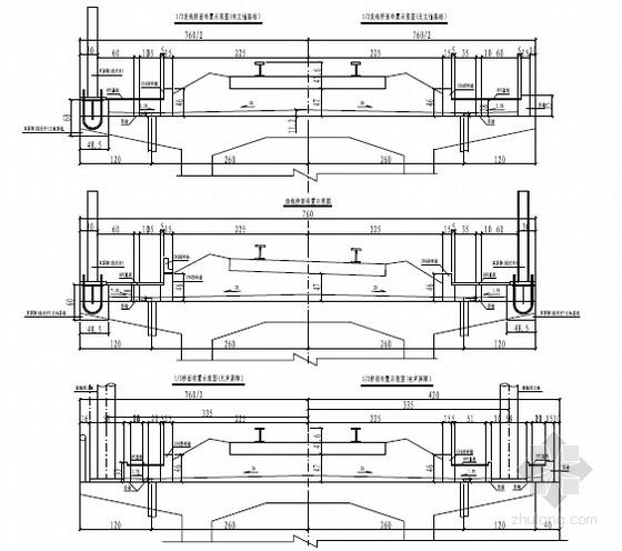 [湖南]42+2X64+42m单线有砟轨道悬臂灌注连续梁设计图60张(含附属设施构造)