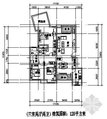 三室两厅一厨两卫120平方米