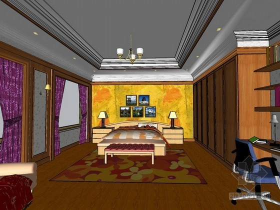 主卧室sketchup模型下载