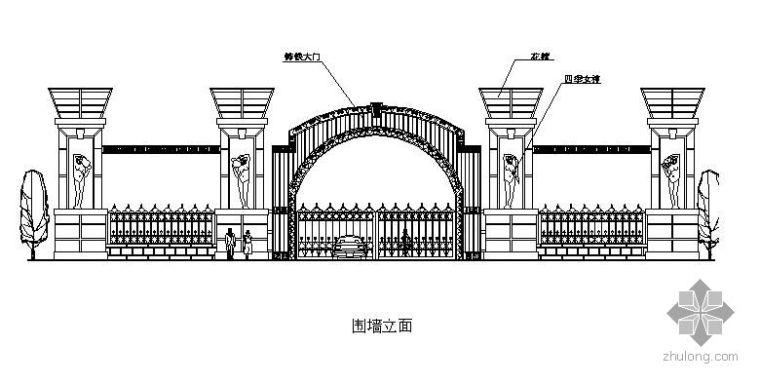 大门围墙设计立面图