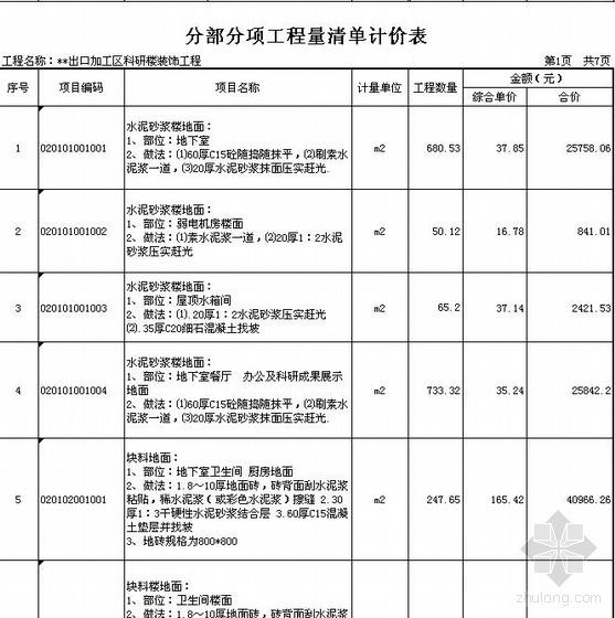 山东济南某7层科研楼建筑装饰清单报价(08清单实例)
