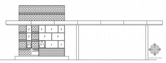 某单体门卫房加大门建筑施工图
