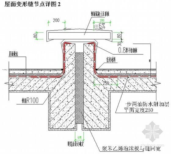屋面变形缝节点详图(预制混凝土压顶板)