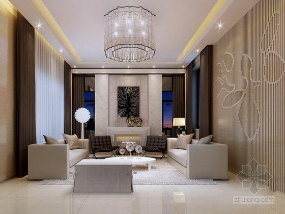 [深圳]混搭风格三层别墅样板间室内装修图(含效果) 客厅效果