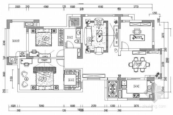 双卧朝阳南北通透欧式风格两居室装修图(含效果图)