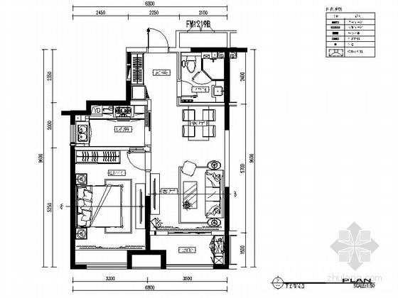 [青岛]现代简约风格样板间装修施工图