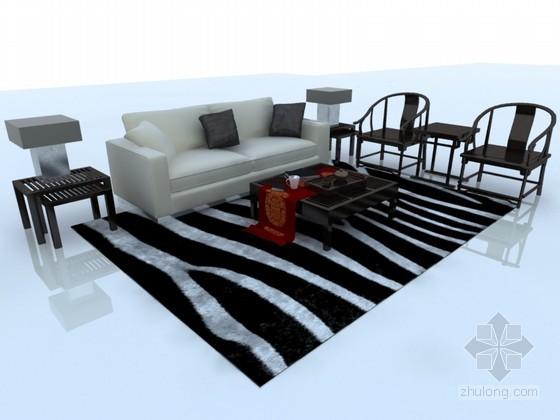现代中式混搭沙发3D模型下载