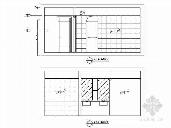 精品时尚简约现代三居室室内装修施工图(含效果图)主卫及衣帽间立面图