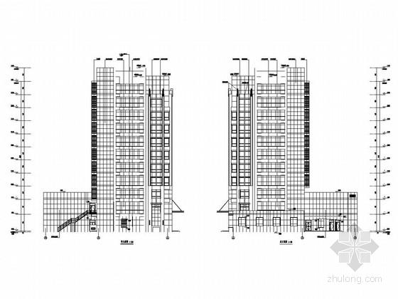 [河北]11层框架剪力墙结构综合楼结构图(含建筑图)