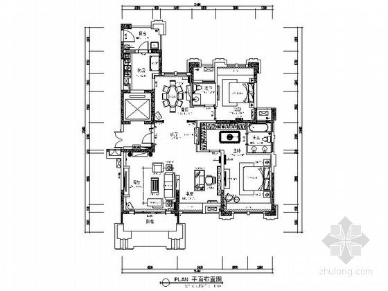 [安徽]115平东南亚风格两居室样板房装修施工图