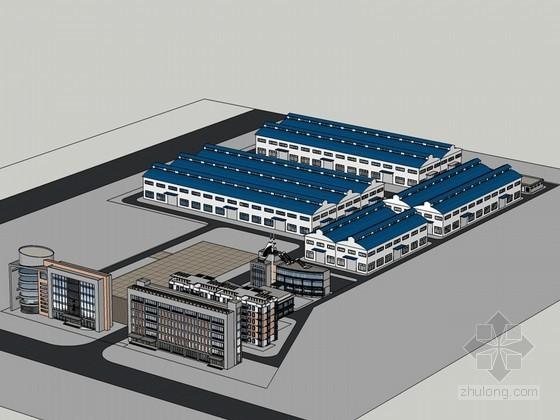 厂房办公建筑SketchUp模型下载