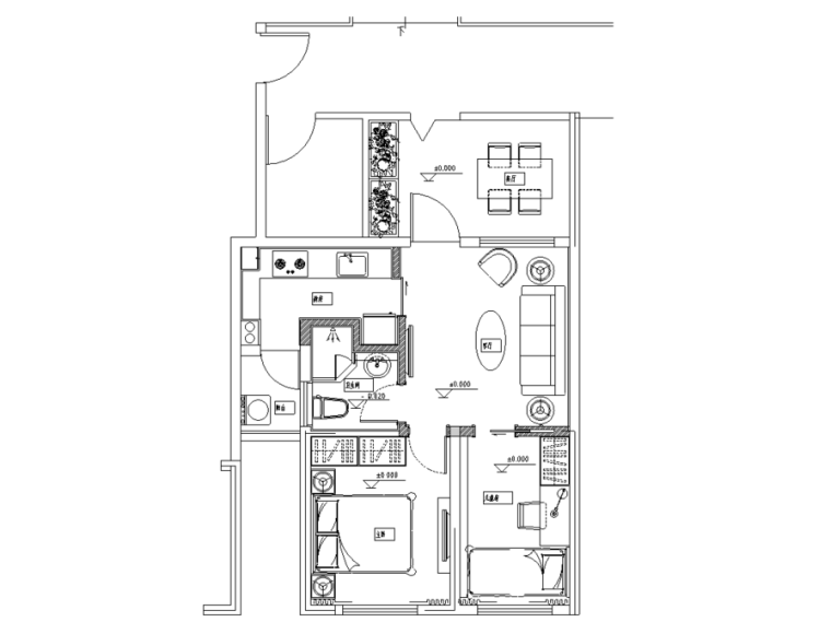 [四川]二居室装修设计全套施工图(附效果图)