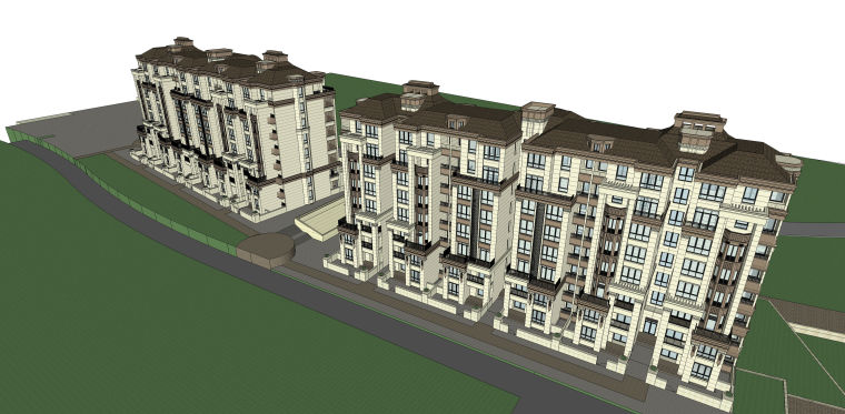 欧式风格多层住宅建筑设计SU模型