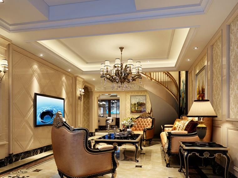 欧式温馨客厅3D模型下载