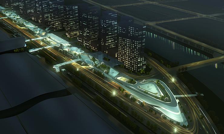 全国7大会展中心设计合集(实景图+效果图)-05-深圳国际会展中心休闲带效果图