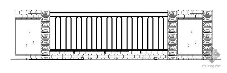 公园某围墙栏杆施工详图