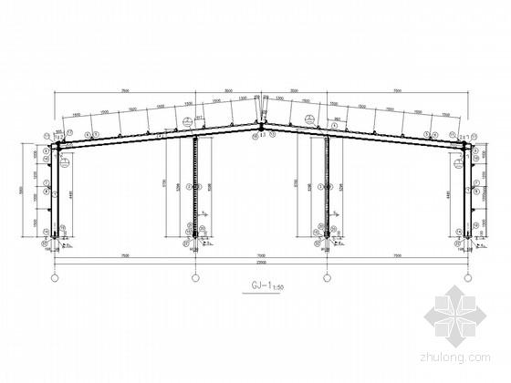 22米跨门式刚架带吊车厂房结构施工图
