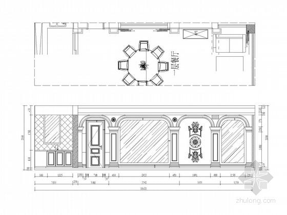 [江苏]欧式豪华顶尖独栋别墅CAD施工图(含效果图) 餐厅立面图