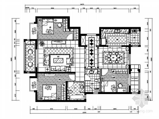 [北京]现代大气三居样板间室内装修施工图(含效果)