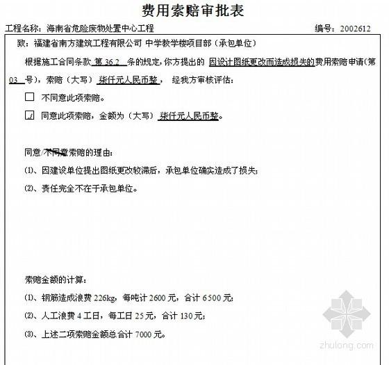 建筑工程监理内业资料全套范例(2013年版)-费用索赔审批表