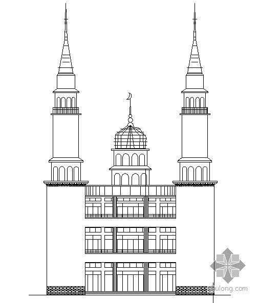 伊斯兰风格建筑某清真寺建筑施工图(附建筑效果图)