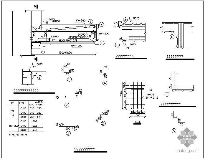 某钢结构雨篷节点构造详图(四)