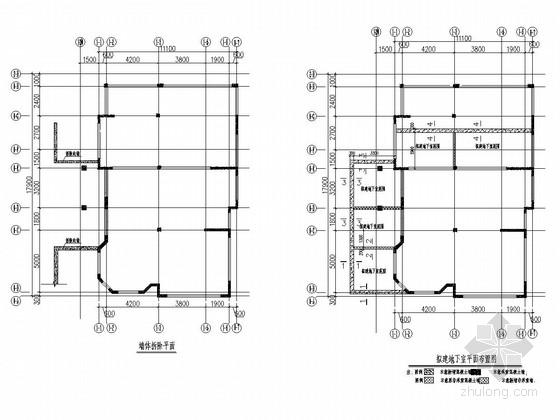 [西安]别墅基础桩加固及新建地下挡土墙改造施工图