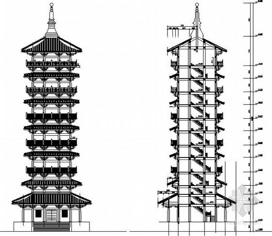 仿古建筑寺塔剪力墙结构施工图