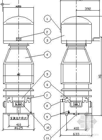 JDCF-63~110型电压互感器外形尺寸图