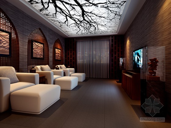 中式足浴店3D模型下载