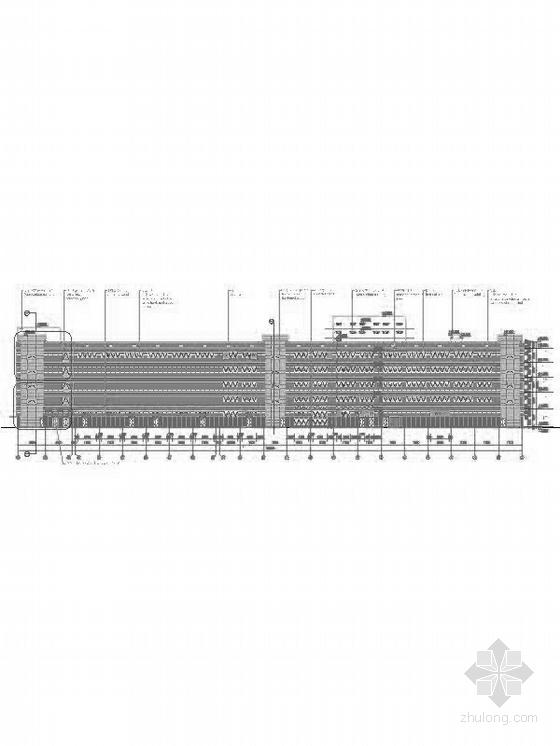 [上海]5层现代风格知名企业辅助厂房设计施工图(图纸精细值得参考)-5层现代风格知名企业辅助厂房立面图