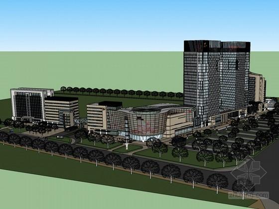 小区商业建筑SketchUp模型下载