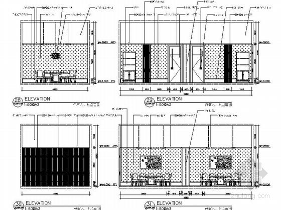 [新疆]时尚新中式连锁餐厅施工图(含效果图)-时尚的新中式连锁餐厅施工图(含效果图)立面图