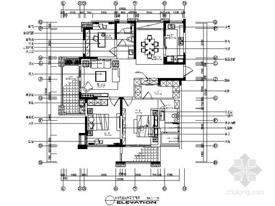 现代三居室A户型装修施工图